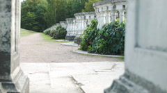 Old terrace in the park - Peterhof Russia Stock Footage
