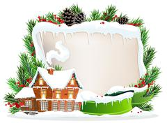 Brick house and Christmas wreath - stock illustration