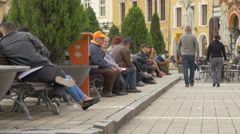 Relaxing in Council Square in Brasov Stock Footage
