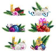 Christmas decoration elements - stock illustration