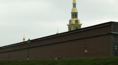 Aerial glide shot of Peter and Paul Fortress Fort in Saint Petersburg Stock Footage