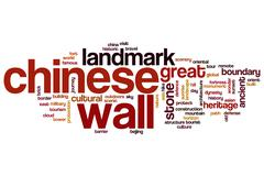Chinese wall word cloud concept - stock illustration