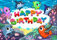 Happy Birthday card with marine life - stock illustration