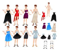 Female avatar with dresses and shoes - stock illustration