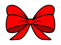 red ribbon bow for christmas present symbol design. Vector illustration isola - stock illustration