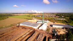 Aerial shot of the pellet factory in Vaike-Maarja Stock Footage
