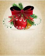 Christmas baubles with red bow - stock illustration
