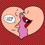 Heart kiss I love you - stock illustration