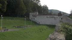 Weavers' Bastion and the old defence wall of Brasov Stock Footage