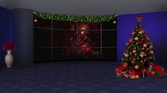 Christmas TV Studio Set 10 - Virtual Green Screen Background Loop - stock footage