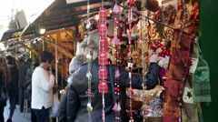 Kiosks with Traditional Christmas toys and gifts Stock Footage