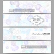 Set of modern banners. Hand drawn floral doodle pattern, abstract vector Stock Illustration
