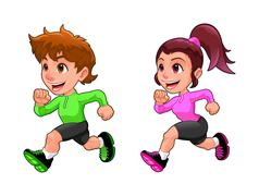 Stock Illustration of Funny running boy and girl