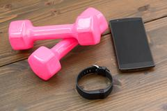 Sports tracker with smartphone - stock photo