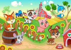 Cute farm animals in the garden - stock illustration