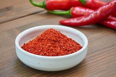 Korean chili pepper powder and chili pepper - stock photo