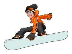 Stock Illustration of Funny snowboarder