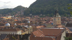 Old City Hall and the Orthodox Cathedral of Assumption seen from above, Brasov Stock Footage