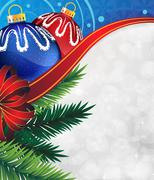 Christmas ornaments with bow and ribbon - stock illustration
