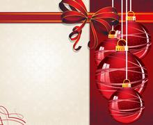 Christmas ornaments with red bow - stock illustration