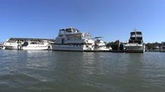 Moving Shot Of Marina Boats Stock Footage