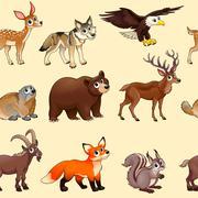 Stock Illustration of Cartoon mountain animals pattern