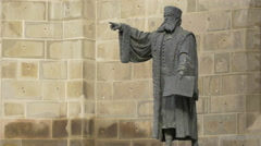 Johannes Honterus statue near Black Church, in the Old Town of Brasov Stock Footage