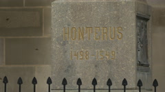 Honterus name engraved on the pedestal of the statue, Brasov Stock Footage