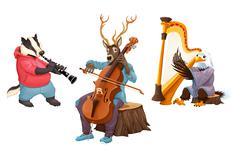 Musician cartoon animals - stock illustration
