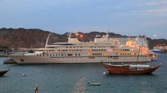Luxury yacht Al Said in Muscat, Oman Stock Footage