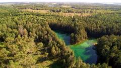 The green lake in Antu lake in Estonia Stock Footage