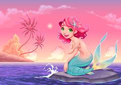 Stock Illustration of Young mermaid near the shore