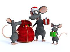 Cartoon mouse Santa handing out presents to kids. - stock illustration