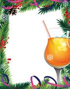 Stock Illustration of Christmas tree and cocktail