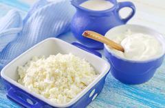 cottage,milk and sour cream - stock photo