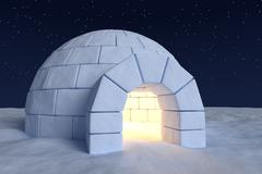 Igloo icehouse with warm light inside under night sky with stars closeup view Stock Illustration