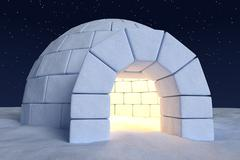 Igloo icehouse with warm light inside under sky with night stars close-up vie - stock illustration