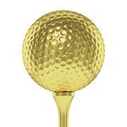 Golden golf ball on tee closeup isolated on white - stock illustration