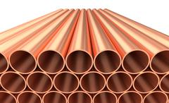 Shiny copper pipes in rows isolated on white Stock Illustration