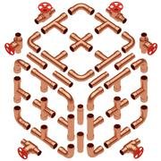Copper pipes set diagonal view Stock Illustration