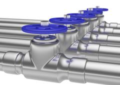 Steel pipes series with blue valves and small DOF - stock illustration