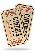 Stock Illustration of Pair of retro cinema tickets isolated with shadow