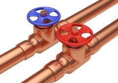 Red and blue valves on copper pipes diagonal view - stock illustration
