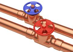 Blue and red valves on copper pipes, diagonal view - stock illustration