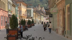 Elderly woman feeding pigeons on Michael Weiss street, Brasov Stock Footage