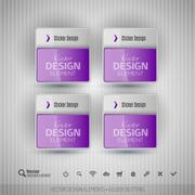 Glossy business stickers. Vector design elements for infographics. - stock illustration