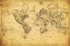 Vintage map of the world 1831 Kuvituskuvat