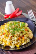 rice with meat and vegetables - stock photo