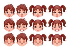 Stock Illustration of Different expressions of boy and girl