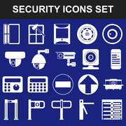 Video surveillance metal and alarm detectors turnstiles. Security icons Stock Illustration
